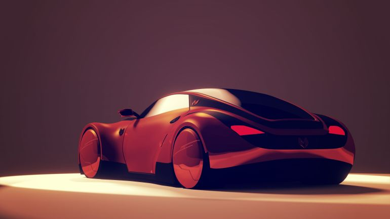 Myzer Futuristic Electric Car back View