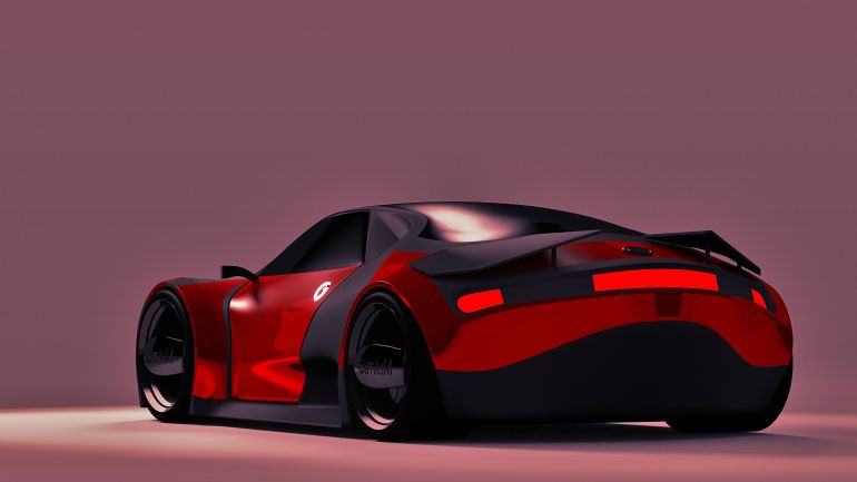Osmium Futuristic Electric Car back View