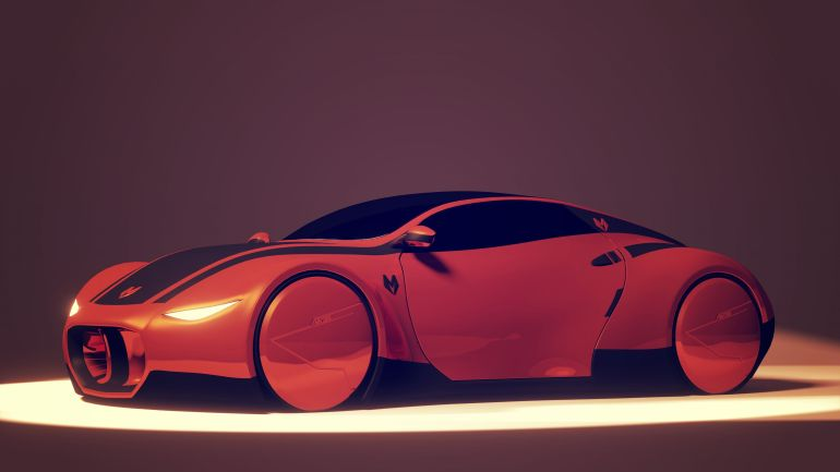 Myzer Futuristic Electric Car Side View