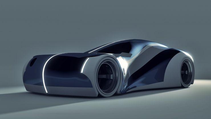 Vale Blue Futuristic Concept Electric Car Front