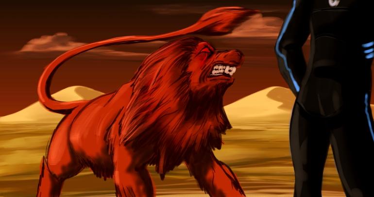 Lion defending grounds